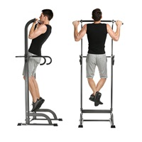 ANCHEER Power Tower, Heavy Duty Pull Up Dip Station, Adjustable Strength Training Power Tower Fitness Workout Exercise Machine (Black)