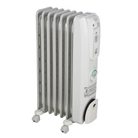 De'Longhi Oil-Filled Radiator Space Heater, Quiet 1500W, Adjustable Thermostat, 3 Heat Settings, Timer, Energy Saving, Safety Features, Nice for Home with Pets Kids, Light Gray, Comfort Temp EW7707CM