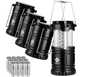 Etekcity 4 Pack Portable LED Camping Lantern Flashlight with 12 AA Batteries