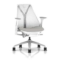 Herman Miller Sayl Task Chair Tilt Limiter - Stationary Seat Depth - Fixed Arms - Standard Carpet Casters - Fog Base Studio White Frame