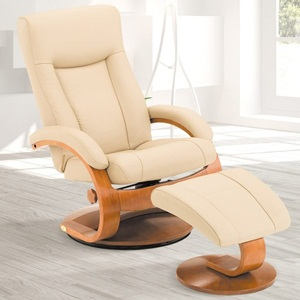 Mac Motion Oslo Collection Recliner with Matching Ottoman in Cobblestone Top Grain Leather