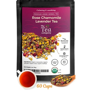 Organic Rose Chamomile Lavender for Stress Relief and Bedtime Herbal Loose Leaf Tea