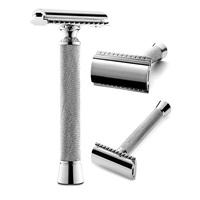 Perfecto Professional Double Edge (DE) Safety Razor for Men. Long Handle for Comfortable Wet Shaving Stylish Luxury Chrome Finish Enjoy The Closest Shave with Zero Irritation