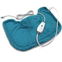 Pure Enrichment PureRelief Neck and Shoulder Heating Pad (Turquoise Blue) - Fast-Heating Technology with Magnetic Neck Closure, 4 Heat Settings, Moist Heat Therapy Option and Convenient Storage Bag