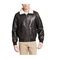 Dockers Mens Maverick Faux Leather Sherpa Collar Aviator Bomber Jacket Standard & Big Tall
