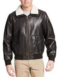 Dockers Men's Maverick Faux Leather Sherpa Collar Aviator Bomber Jacket
