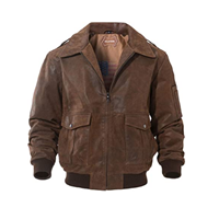 FLAVOR Men's Leather Flight Bomber Jacket Air Force Aviator