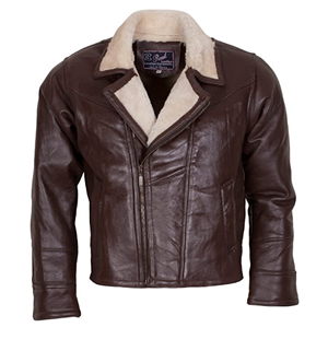 Men's Aviator B3 Bomber Brown Fur Lined Designer Leather Jacket