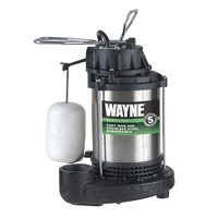 WAYNE CDU980E 3-4 HP Submersible Cast Iron and Stainless Steel Sump Pump With Integrated Vertical Float Switch