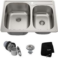 Kraus KTM32 Premier Kitchen Sink, 33-Inch, Double Bowl 60 40
