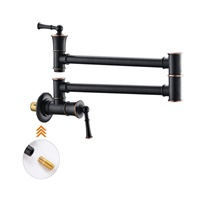 APPASO Pot Filler Faucet Wall Mount, Solid Brass Folding Double Joint Swing Arm Extending Wall Hole Filler Kitchen Faucet, Oil Rubbed Bronze
