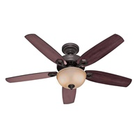 HUNTER 53091 Builder Deluxe Indoor Ceiling Fan with LED Light and Pull Chain Control, 52, New Bronze