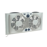 Holmes Dual 8 Blade Twin Window Fan with Manual Controls, 3 Speed Settings, White