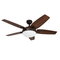 Honeywell Carmel 48-Inch Ceiling Fan with Integrated Light Kit and Remote Control, Five Reversible Cimarron Ironwood Blades, Oil-Rubbed Bronze