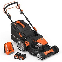 Yard Force YOLMX225300 120V 2.5Ah x 2 Lithium-Ion 22 SP 3-in-1 Mower Torque-Sense One Size Black and Orange
