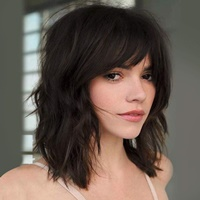 Brown Wigs with Full Air Bangs for Women Synthetic Curly Wavy Short Bob Wig for Girl Natural Looking