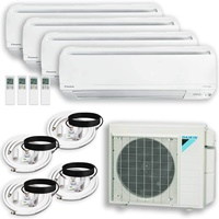 DAIKIN (4 Zone) 4MXS Air Conditioner Heat Pump + Maxwell 15 ft. Installation Kit + Wall Bracket 9000 + 9000 + 9000 + 12000 BTU