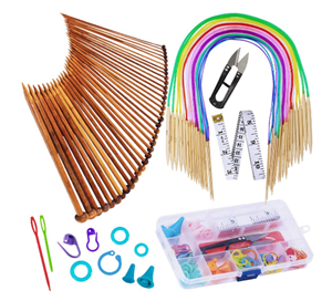 EXQUISS Bamboo Knitting Needles Set With Crochet Hooks
