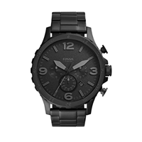 Fossil Men's Nate Stainless Steel Chronograph Quartz Watch Black